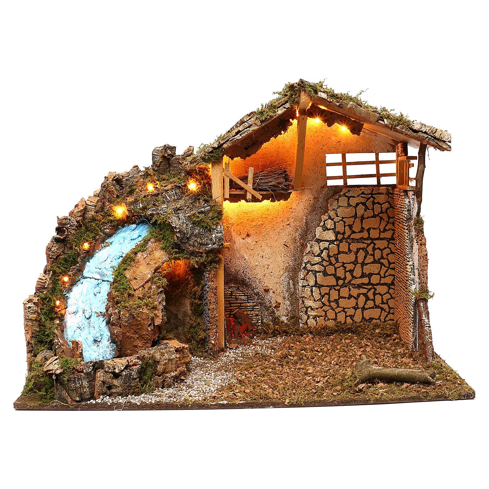 Stalla pareti muratura luci cascata pompa funzionante 40x75x50 cm presepe 10 cm 4