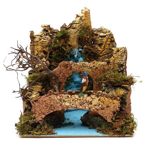 Ambientación cascada con puente y pastor belén 6 cm 25x25x20 cm 1
