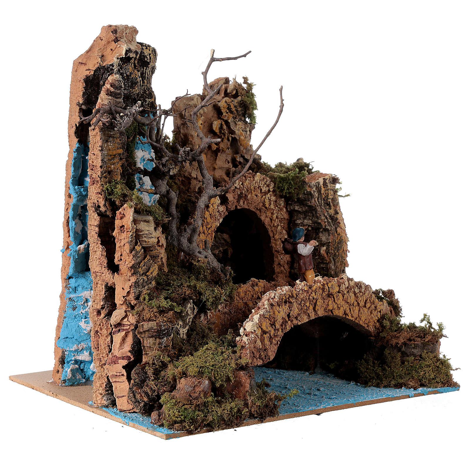 Décor cascade avec pont et santon crèche 6 cm 25x25x20 cm 4
