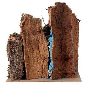 Décor cascade avec pont et santon crèche 6 cm 25x25x20 cm s4