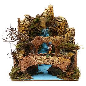 Ponte presepe, ruscelli, staccionate: Ambientazione cascata con ponte e pastore presepe 6 cm 25x25x20 cm