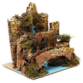 Ambientazione cascata con ponte e pastore presepe 6 cm 25x25x20 cm s3