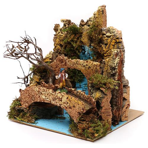 Ambientazione cascata con ponte e pastore presepe 6 cm 25x25x20 cm 2