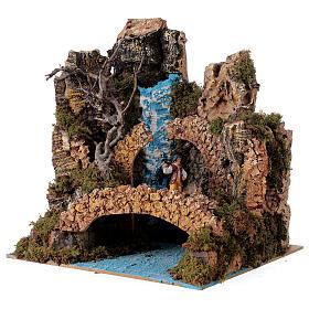 Waterfall setting with bridge and shepherd, 6 cm nativity 25x25x20 cm s2