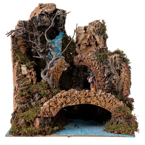 Waterfall setting with bridge and shepherd, 6 cm nativity 25x25x20 cm 1