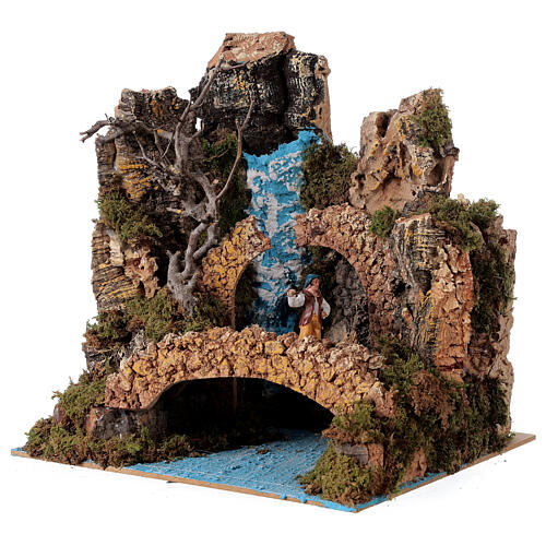 Waterfall setting with bridge and shepherd, 6 cm nativity 25x25x20 cm 2
