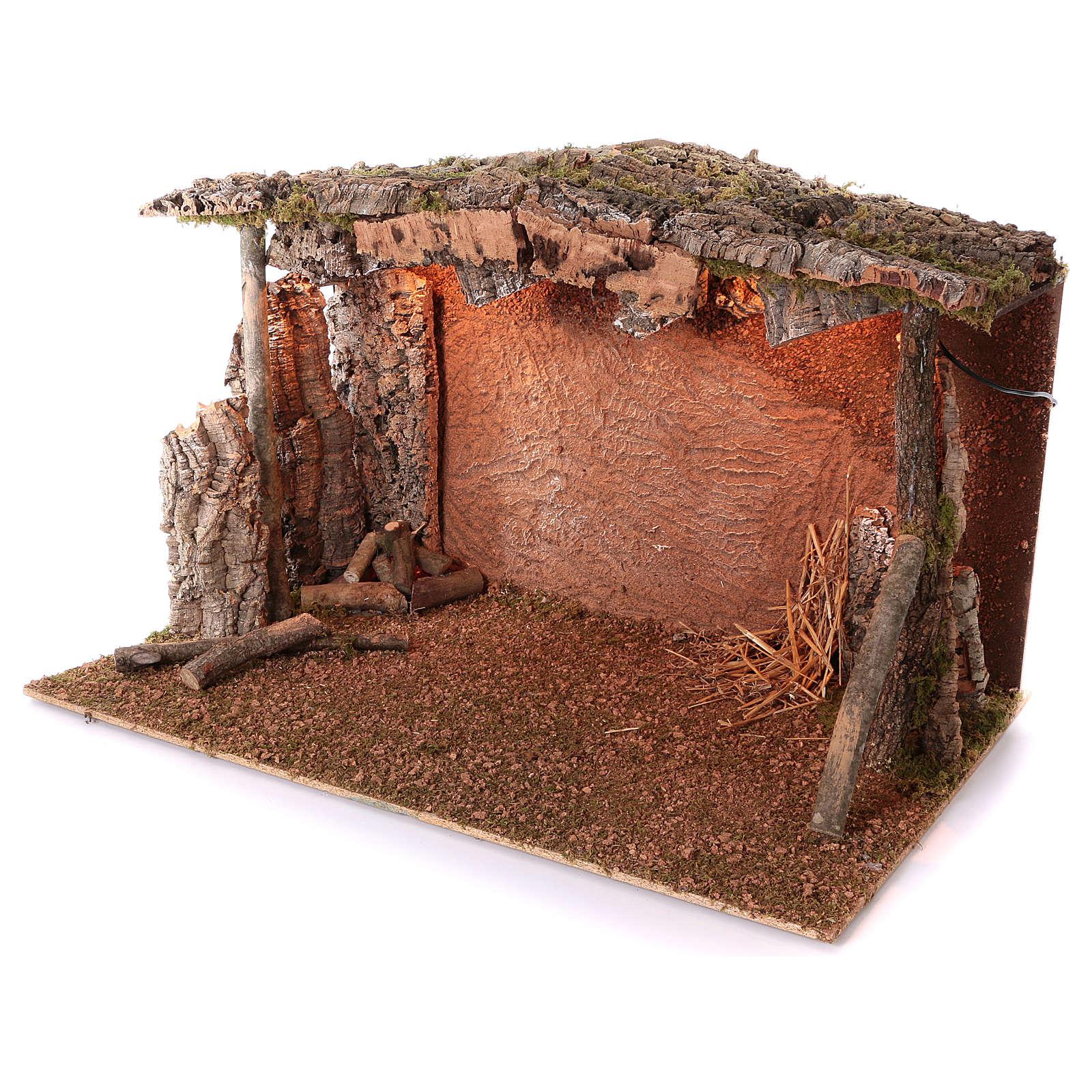 Cabane toit liège lumière effet flamme 75x115x70 cm pour crèche de 45 cm 4
