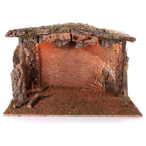 Cabane toit liège lumière effet flamme 75x115x70 cm pour crèche de 45 cm 1
