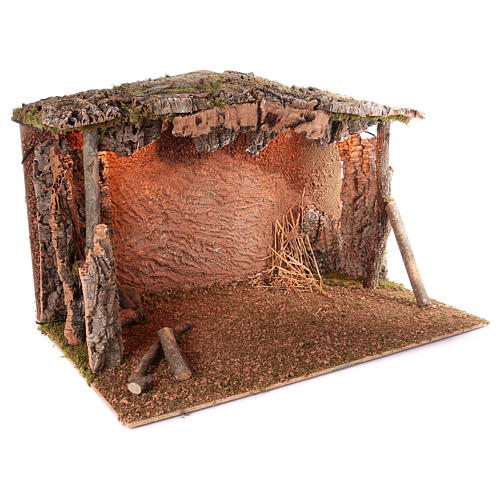Cabane toit liège lumière effet flamme 75x115x70 cm pour crèche de 45 cm 3