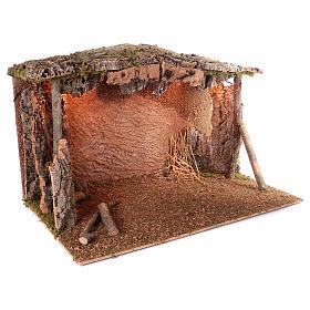 Capanna tetto sughero luce effetto fiamma 75x115x70 cm per presepi di 45 cm s3