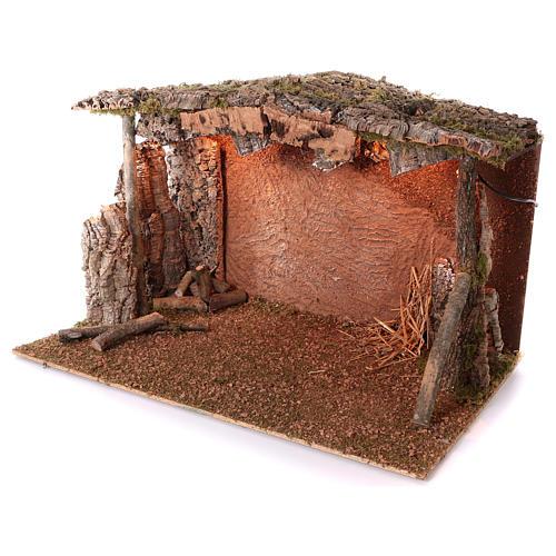 Capanna tetto sughero luce effetto fiamma 75x115x70 cm per presepi di 45 cm 2