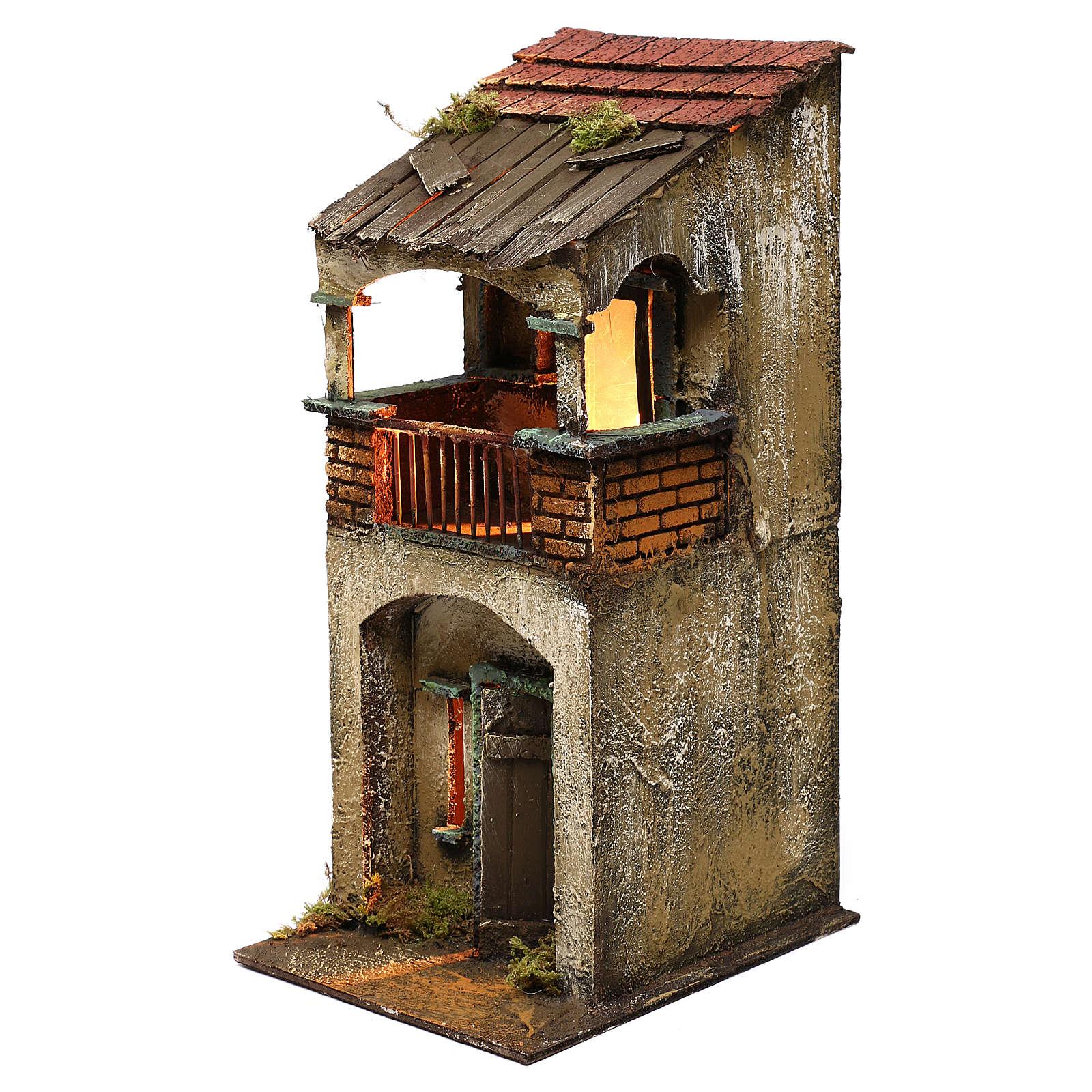Neapolitan Nativity scene setting, two floors house with balcony 35x15x20 cm 4