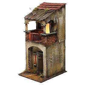 Neapolitan Nativity scene setting, two floors house with balcony 35x15x20 cm s2