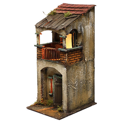Neapolitan Nativity scene setting, two floors house with balcony 35x15x20 cm 2