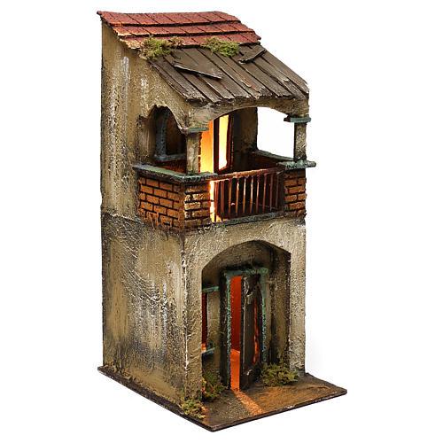 Casita dos pisos balcón 35x15x20 cm 3