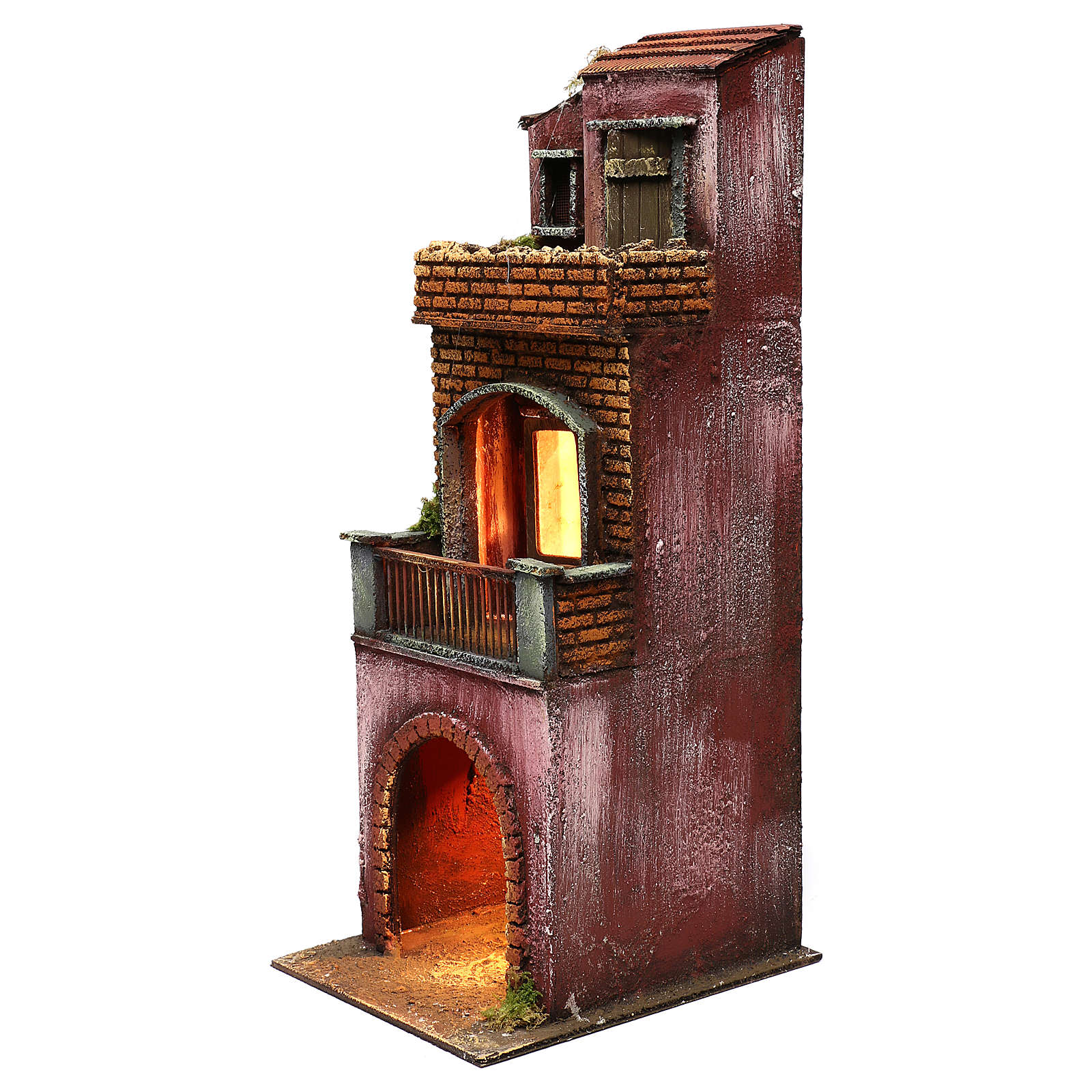 Neapolitan Nativity scene setting, three floors house with stable 45x20x20 cm 4