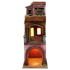 Neapolitan Nativity scene setting, three floors house with stable 45x20x20 cm s1