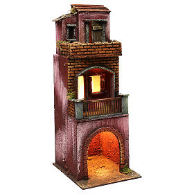 Neapolitan Nativity scene setting, three floors house with stable 45x20x20 cm s3
