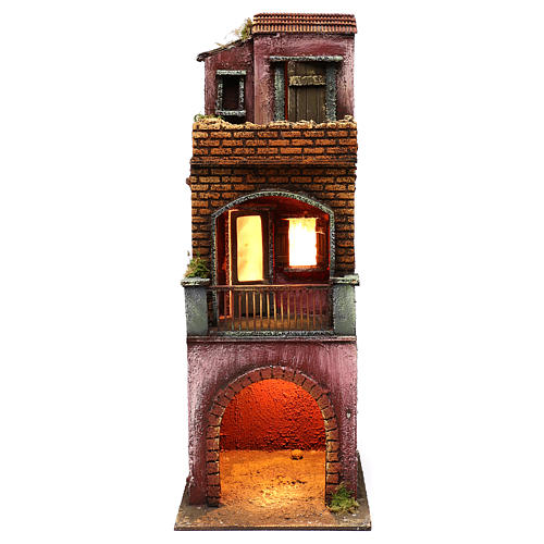 Neapolitan Nativity scene setting, three floors house with stable 45x20x20 cm 1