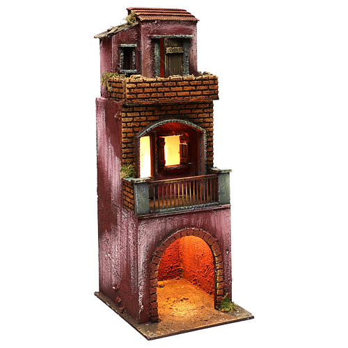 Neapolitan Nativity scene setting, three floors house with stable 45x20x20 cm 3