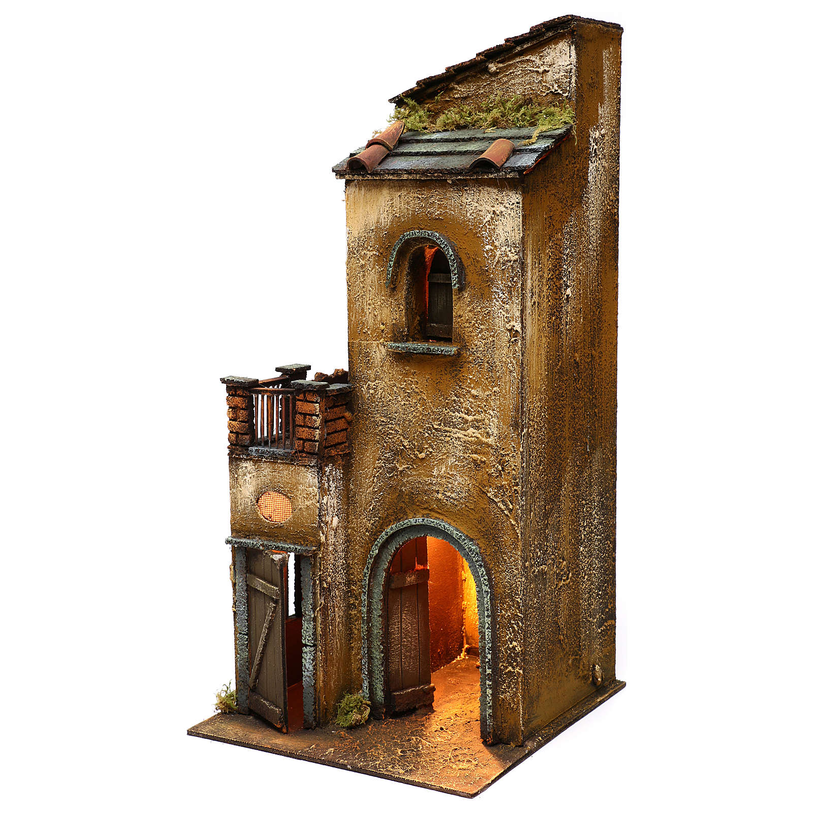 Neapolitan Nativity scene setting, house with lights on rectangular base 50x25x25 cm 4