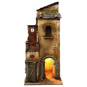 Presépio Napolitano: Casa iluminada base rectangular presépio napolitano 50x25x25 cm