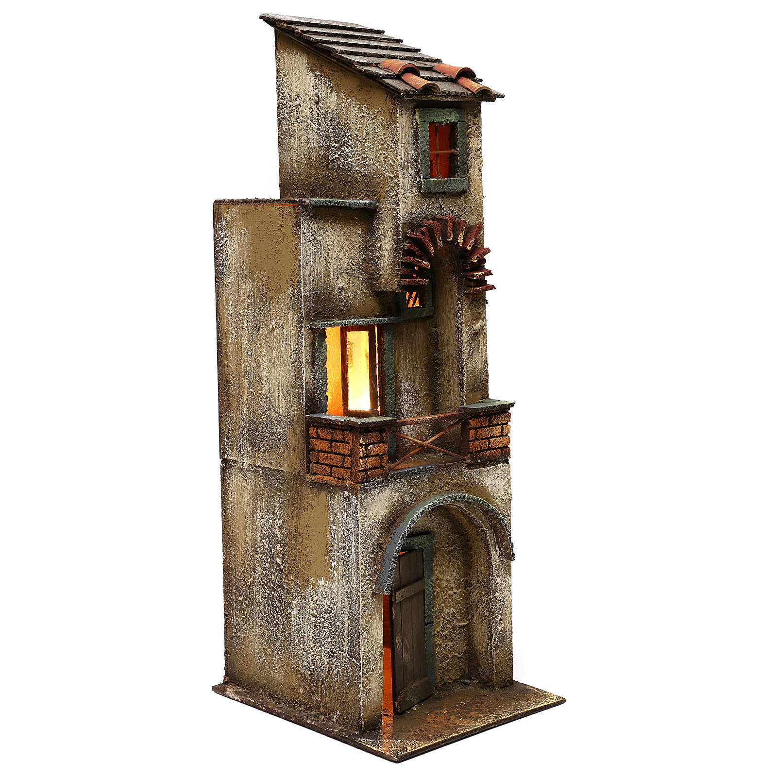 Neapolitan Nativity scene setting, two floors house 55x20x20 cm 4