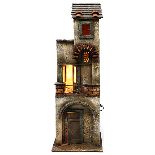 Neapolitan Nativity scene setting, two floors house 55x20x20 cm 1