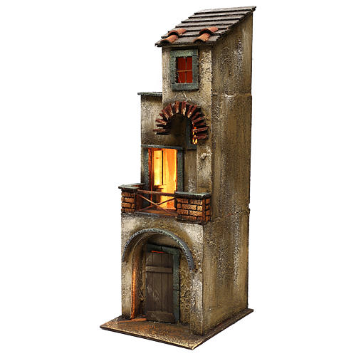 Neapolitan Nativity scene setting, two floors house 55x20x20 cm 2