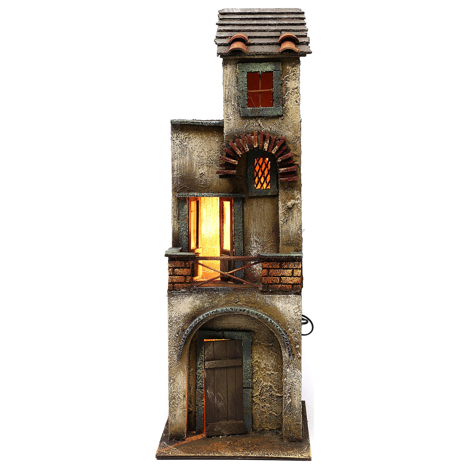 Casa due piani in legno presepe napoletano 55x20x20 4