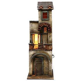 Presépio Napolitano: Casa dois andares em madeira presépio napolitano 55x20x20 cm