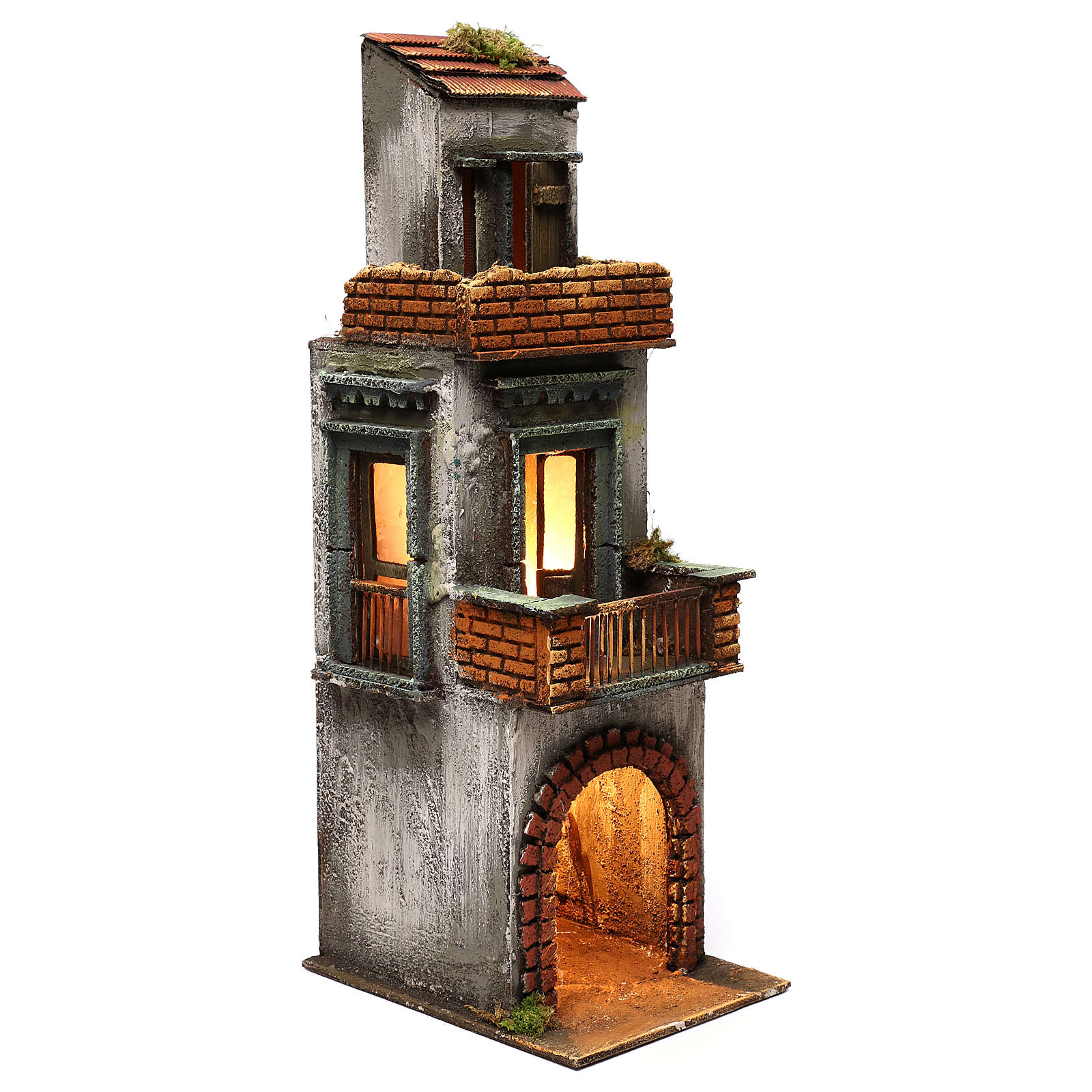 Neapolitan Nativity scene setting, three floors house 50x15x20 cm 4
