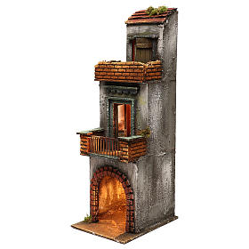 Neapolitan Nativity scene setting, three floors house 50x15x20 cm s2