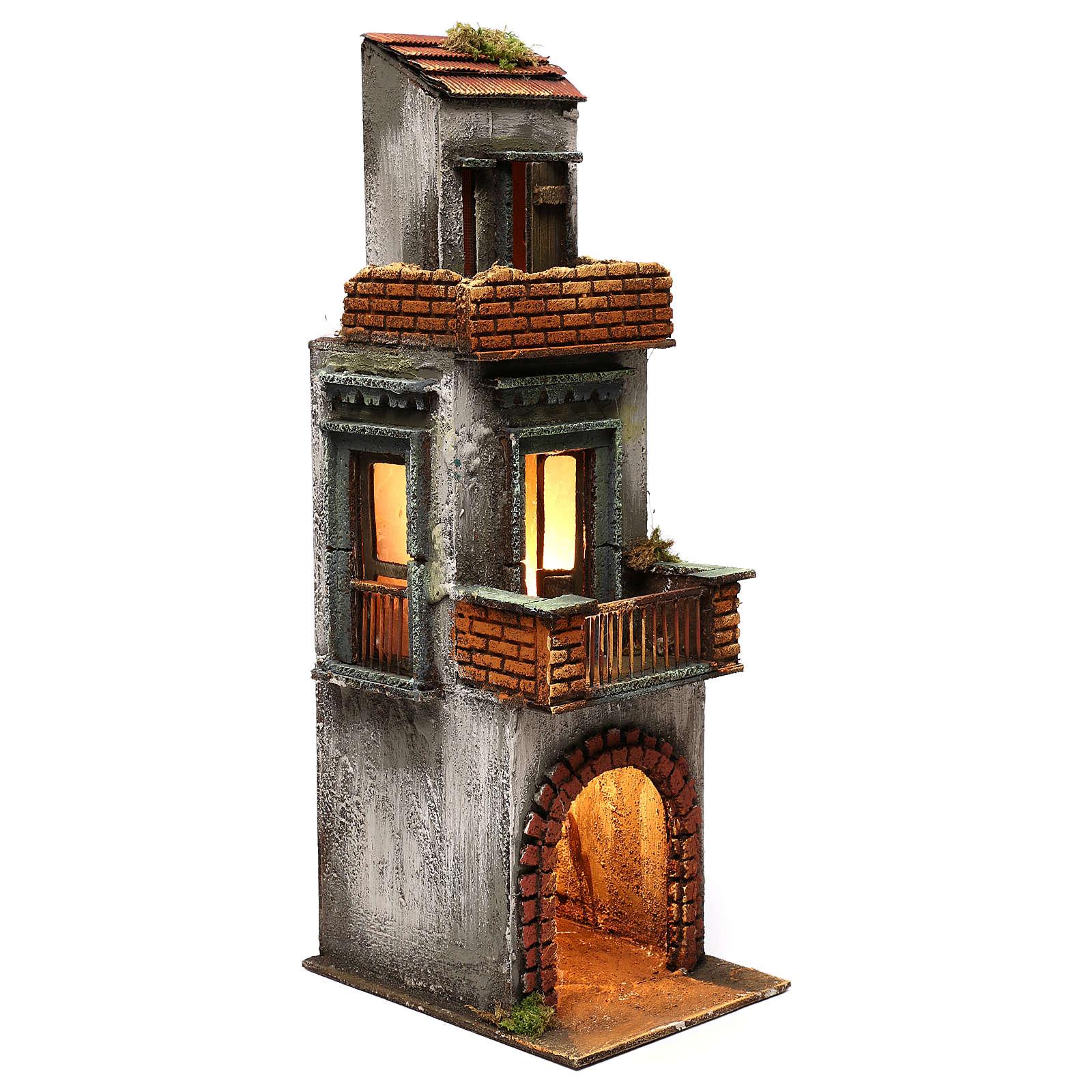 Caseggiato in legno tre piani presepe napoletano 50x15x20 cm 4