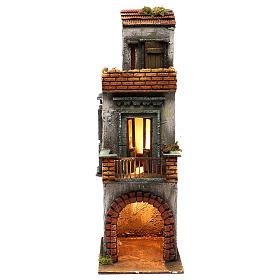 Caseggiato in legno tre piani presepe napoletano 50x15x20 cm s1