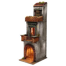 Caseggiato in legno tre piani presepe napoletano 50x15x20 cm s2