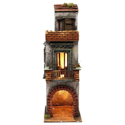 Caseggiato in legno tre piani presepe napoletano 50x15x20 cm 1
