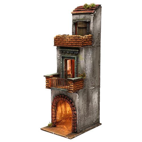 Caseggiato in legno tre piani presepe napoletano 50x15x20 cm 2