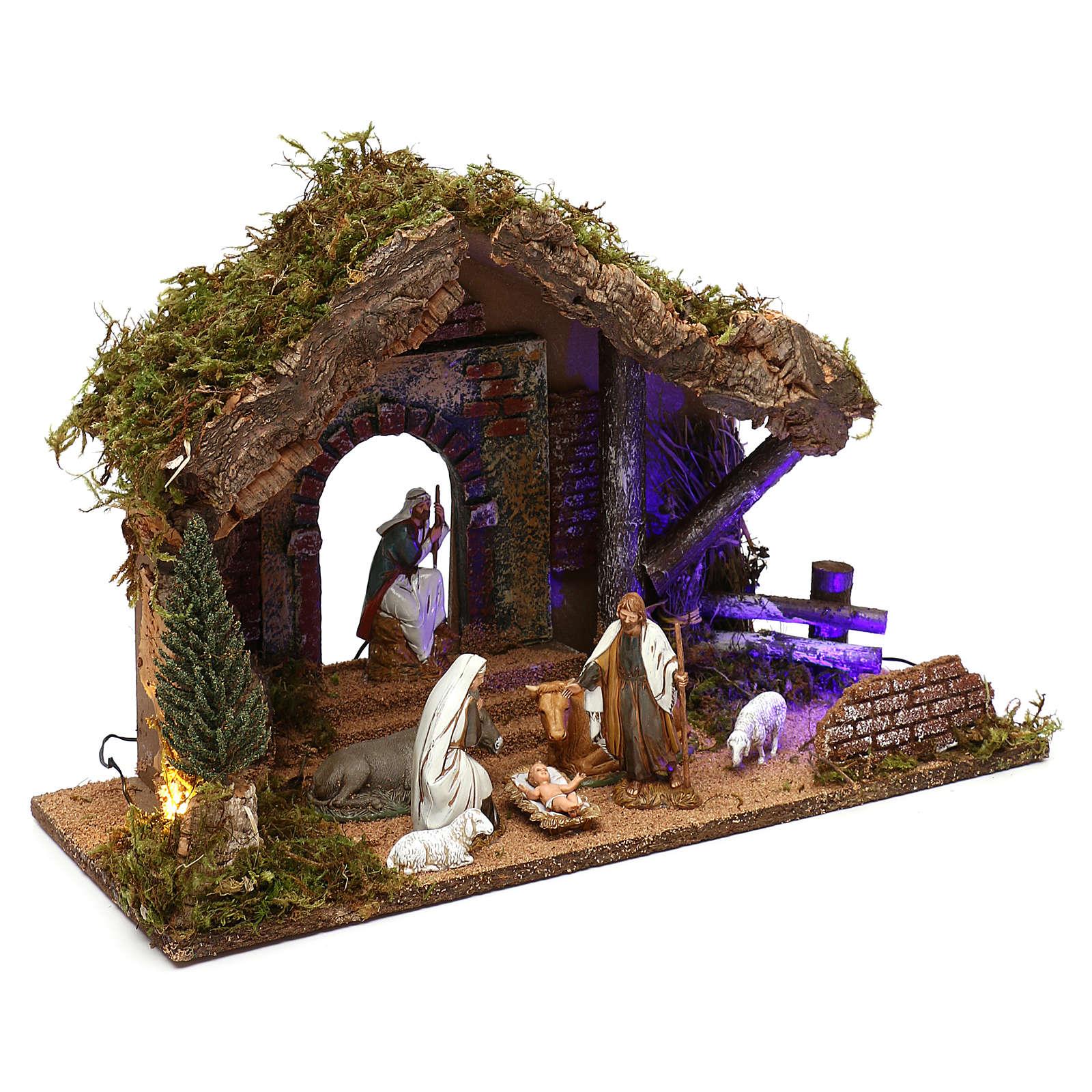 Cabane avec portail décor nocturne crèche 10 cm Moranduzzo 4