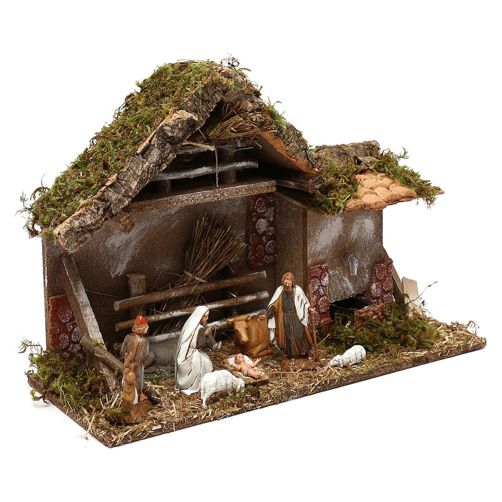 Cabaña con henil fuente y natividad belén 10 cm 4