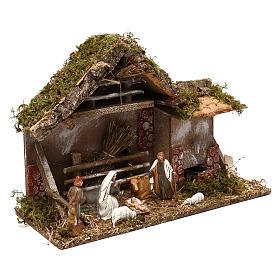 Cabaña con henil fuente y natividad belén 10 cm s3