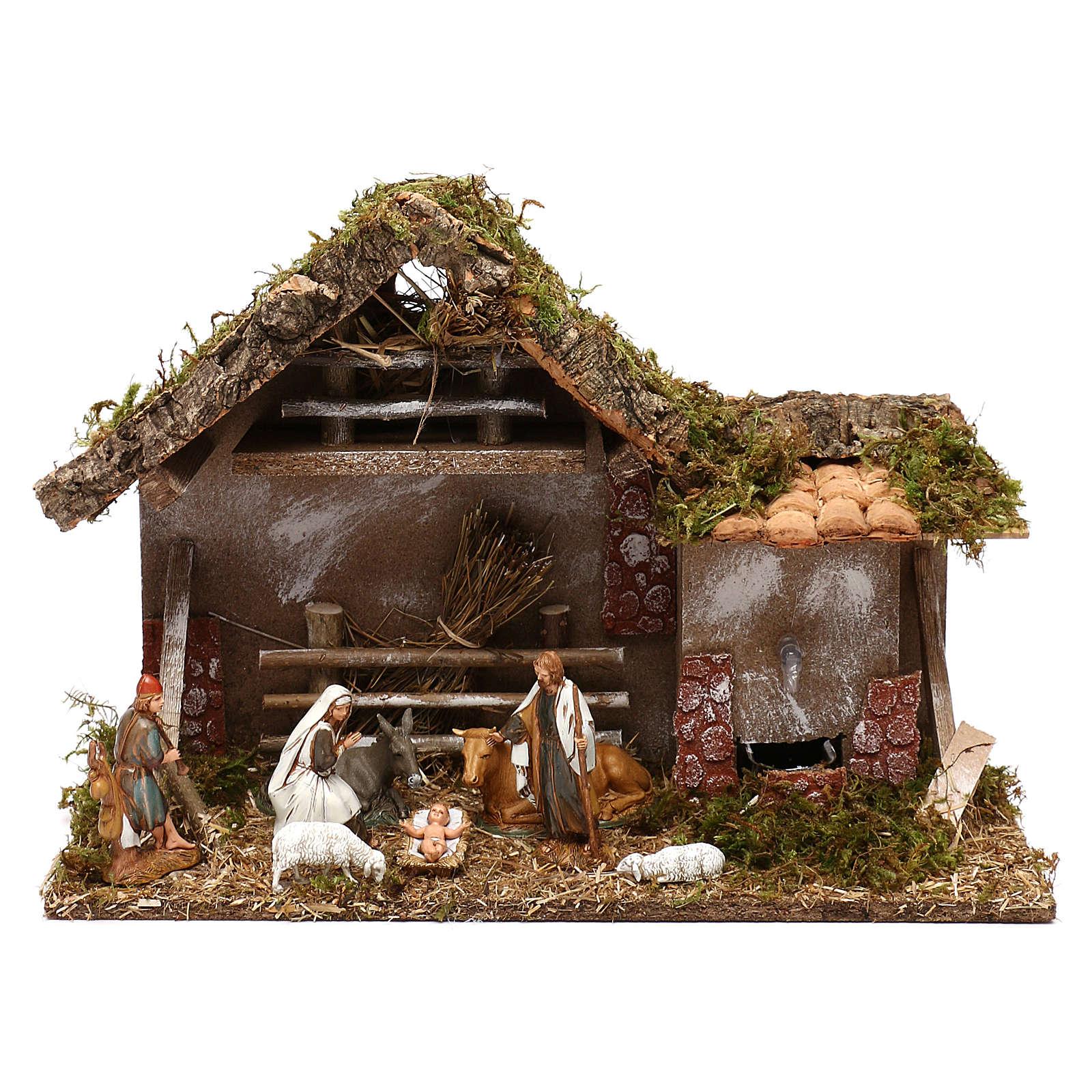 Cabane avec fenil fontaine et nativité crèche 10 cm 4