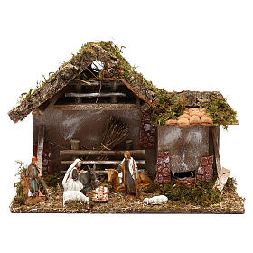 Cabane avec fenil fontaine et nativité crèche 10 cm s1