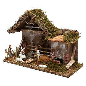 Cabane avec fenil fontaine et nativité crèche 10 cm s2