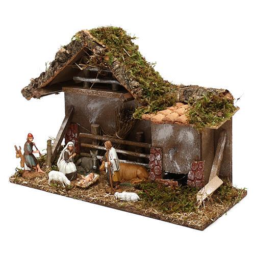 Cabane avec fenil fontaine et nativité crèche 10 cm 2