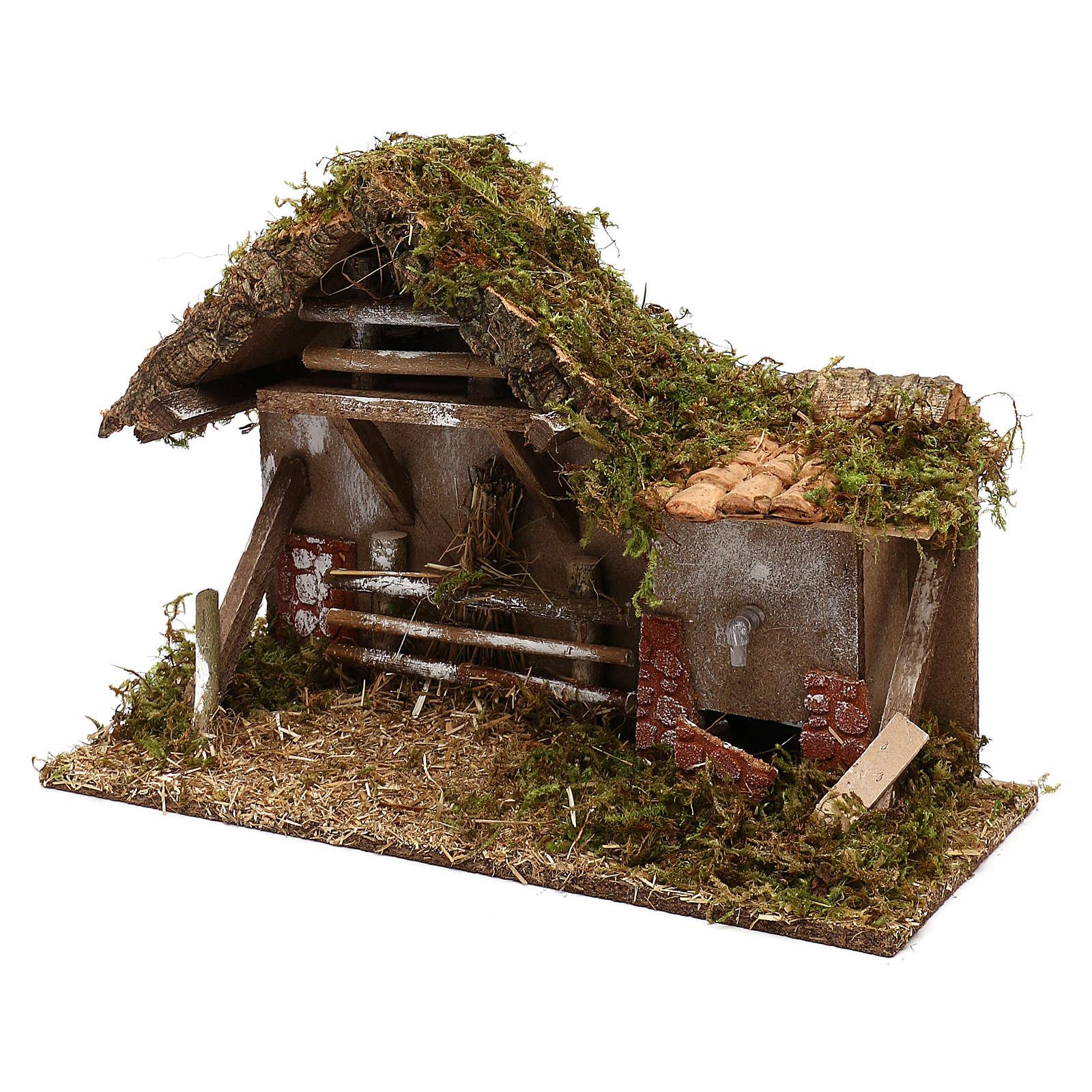 Cabaña con fuente y henil belén 10 cm 4
