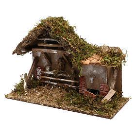 Cabaña con fuente y henil belén 10 cm s2