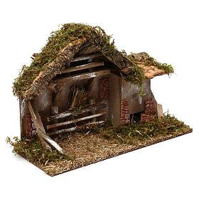 Cabaña con fuente y henil belén 10 cm s3