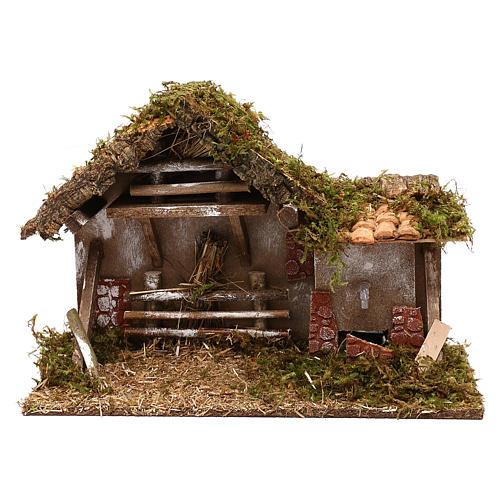 Cabaña con fuente y henil belén 10 cm 1