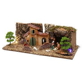 Cueva con casitas y natividad belén 7 cm s2